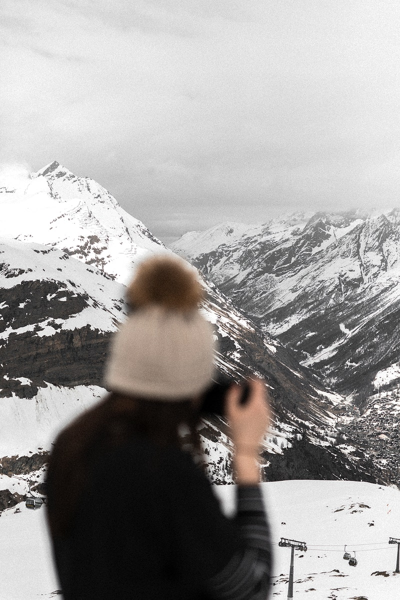 Female traveler in Zermatt, Switzerland