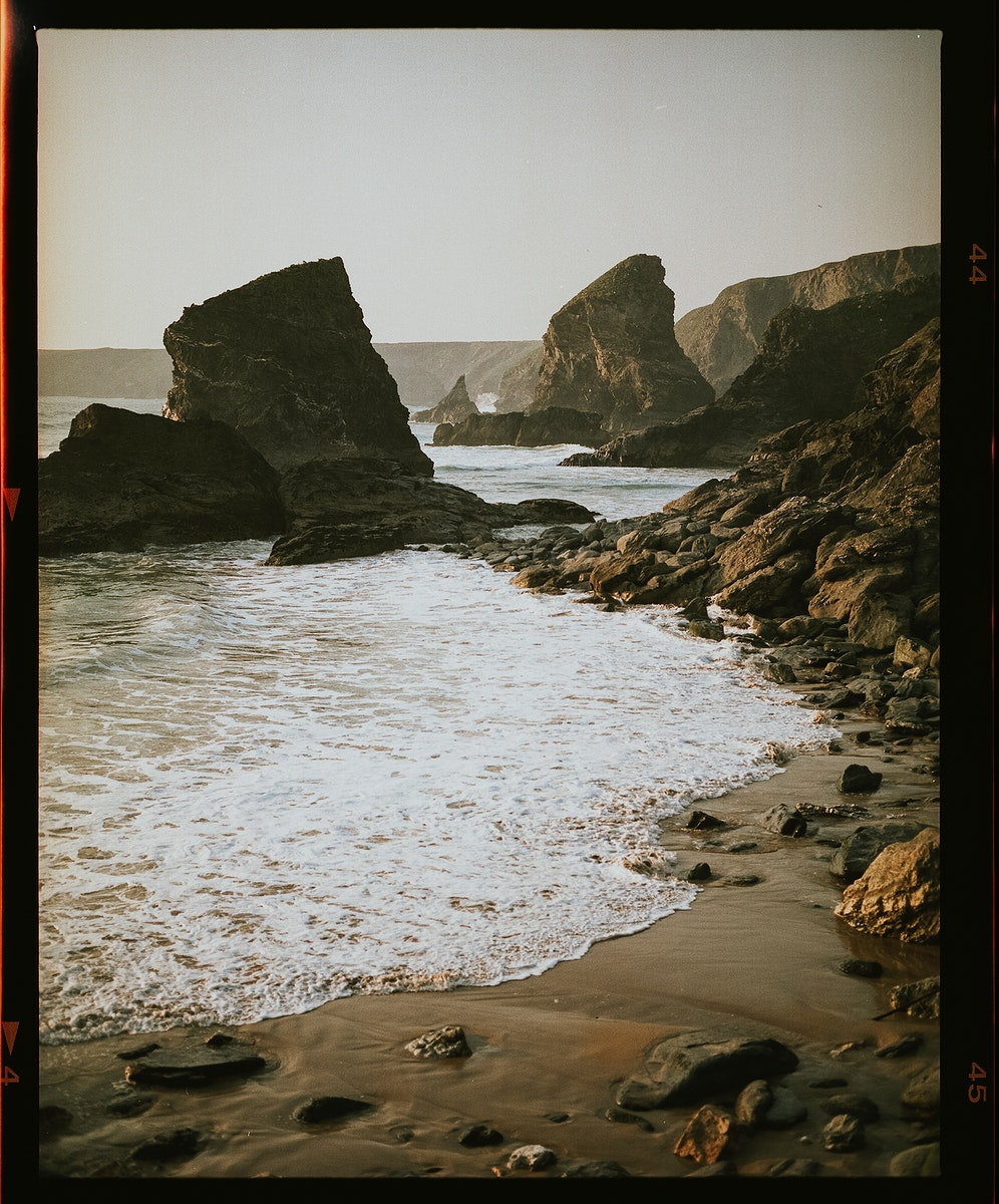 View of beach with film effect