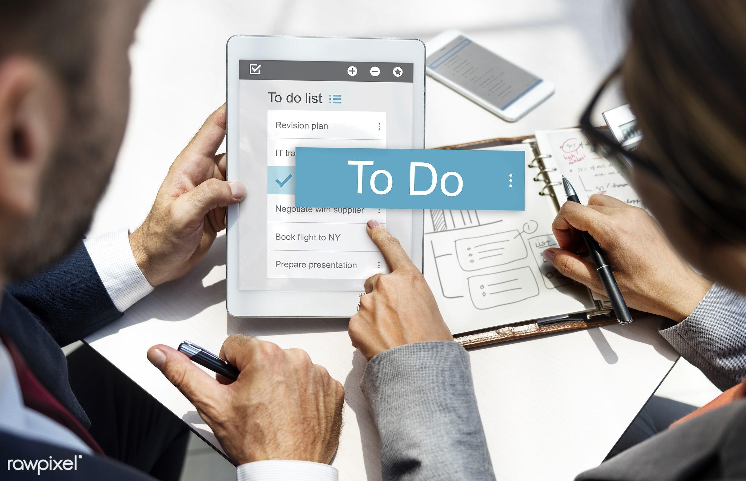 checklist, agenda, app, appointment, business, businessman, businessmen, businesswoman, businesswomen, calculator, calendar...