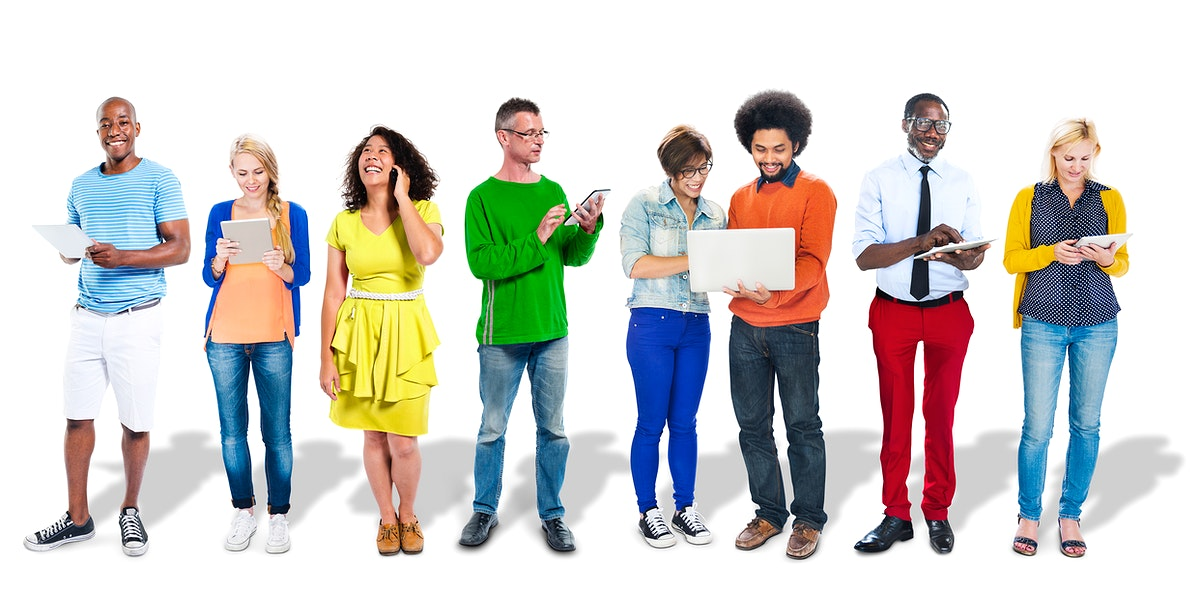 Group of diverse people holding digital devices