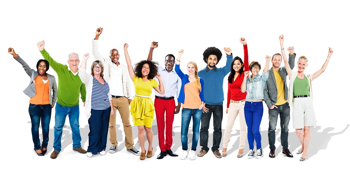 Happy group of diverse people with arms raised