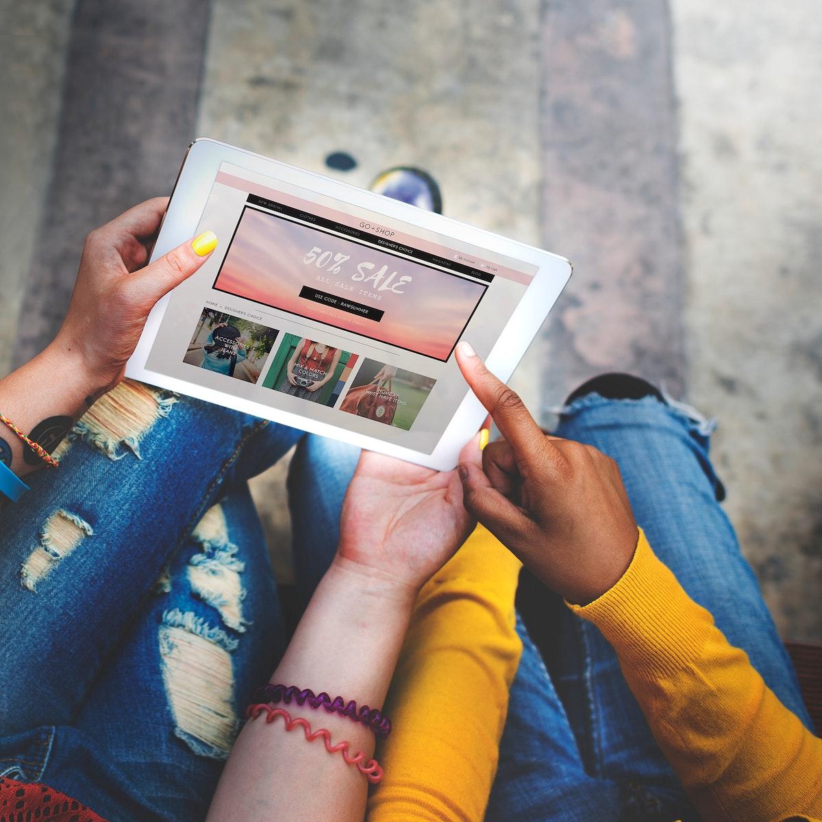 People using digital tablet