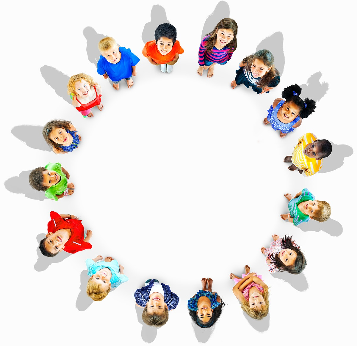 Top view of multi-ethnic kids in a circle
