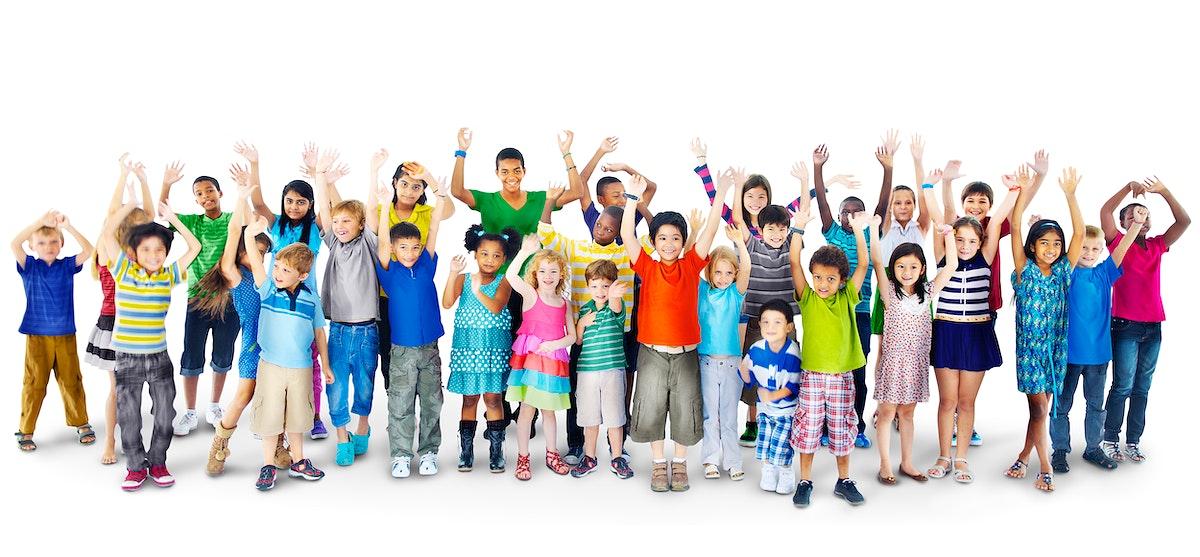 Group of multi ethnic cheerful kids