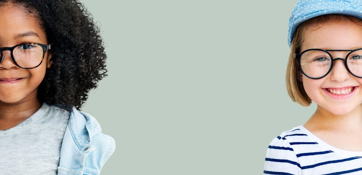 Little African American girl and a little Caucasian girl