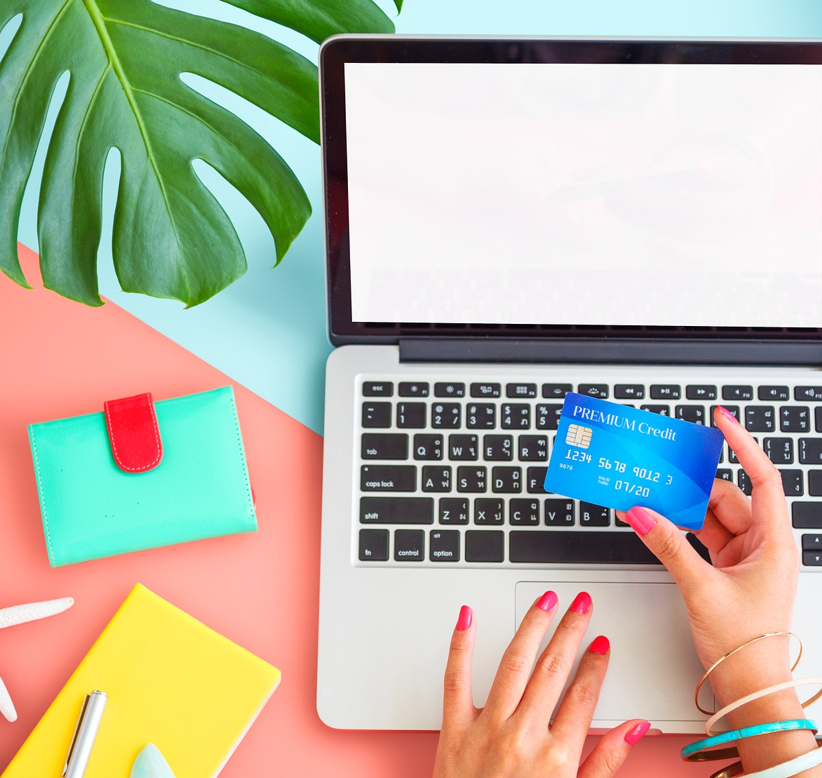 Tropical summer background and online shopping