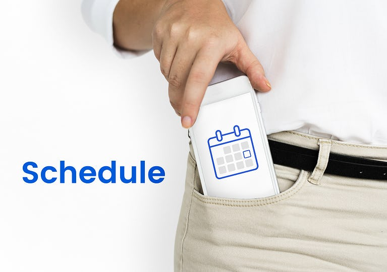 Illustration of personal organizer calendar on mobile phone