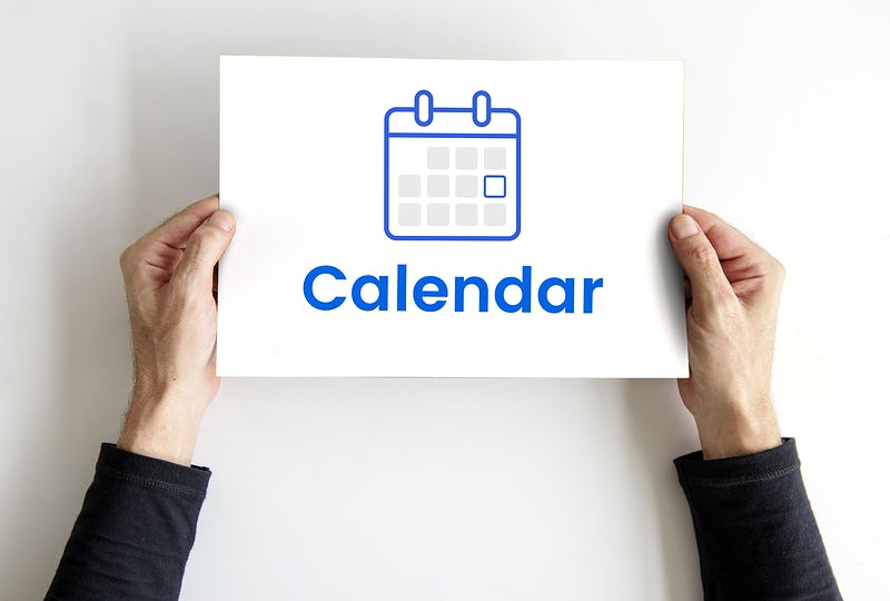 Hands holding banner with illustration of personal organizer calendar
