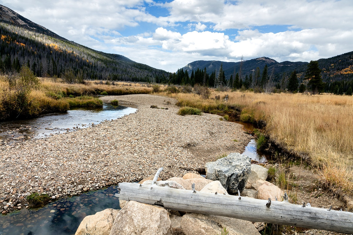 """A portion of the """"Grand Ditch,"""" a stretch of the Colorado River, just ten miles from its headwaters in Rocky Mountain…"""