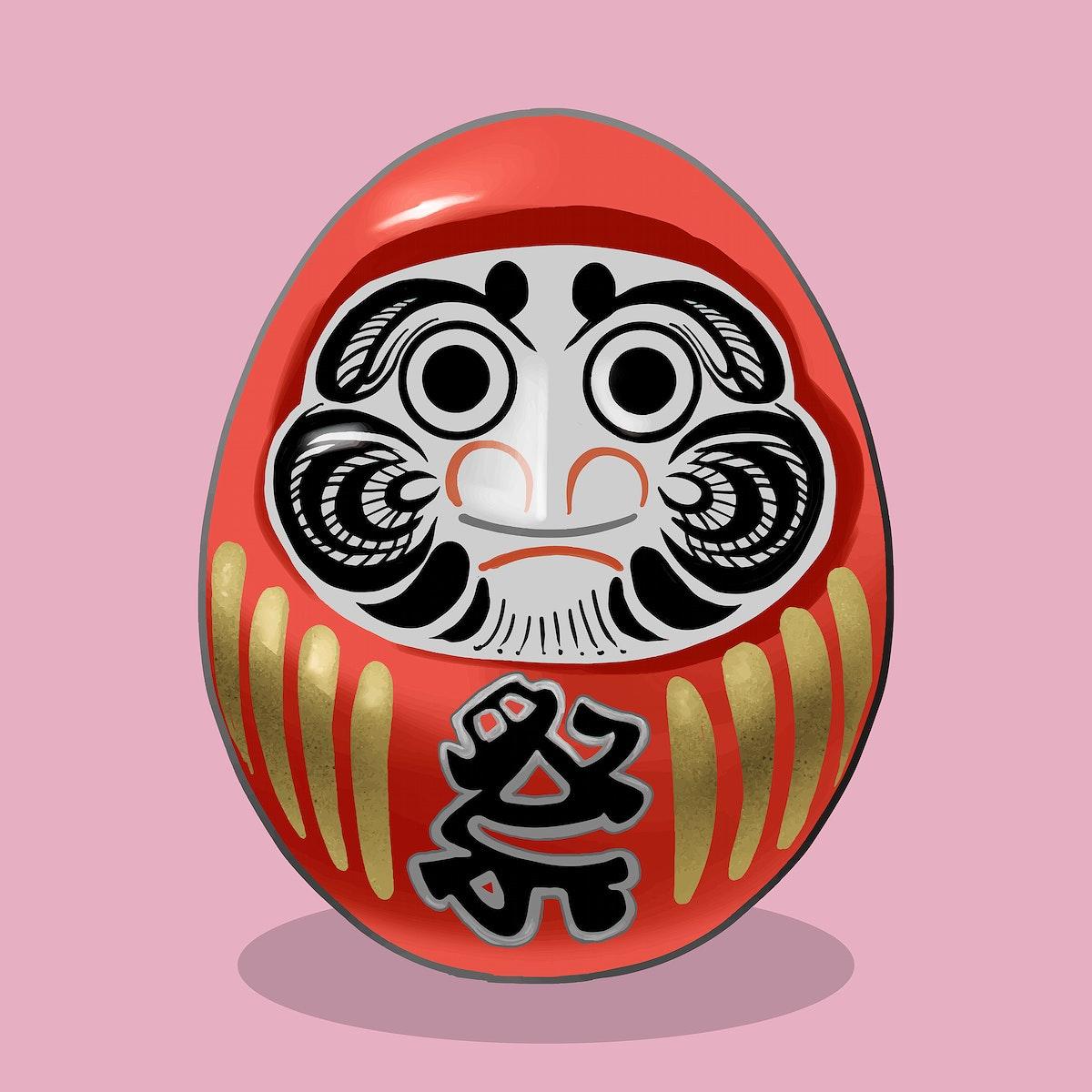 Daruma, a traditional Japanese doll illustration