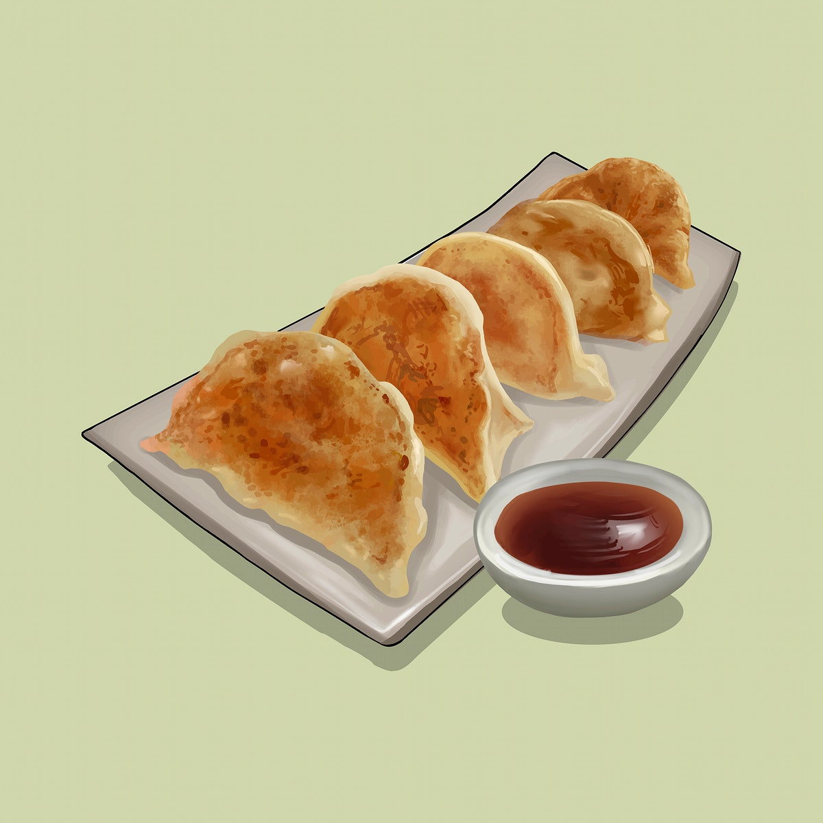 Japanese Gyoza with dipping sauce