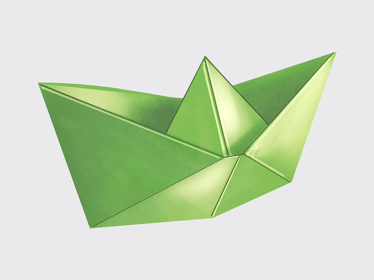 Green 3D Origami boat illustration