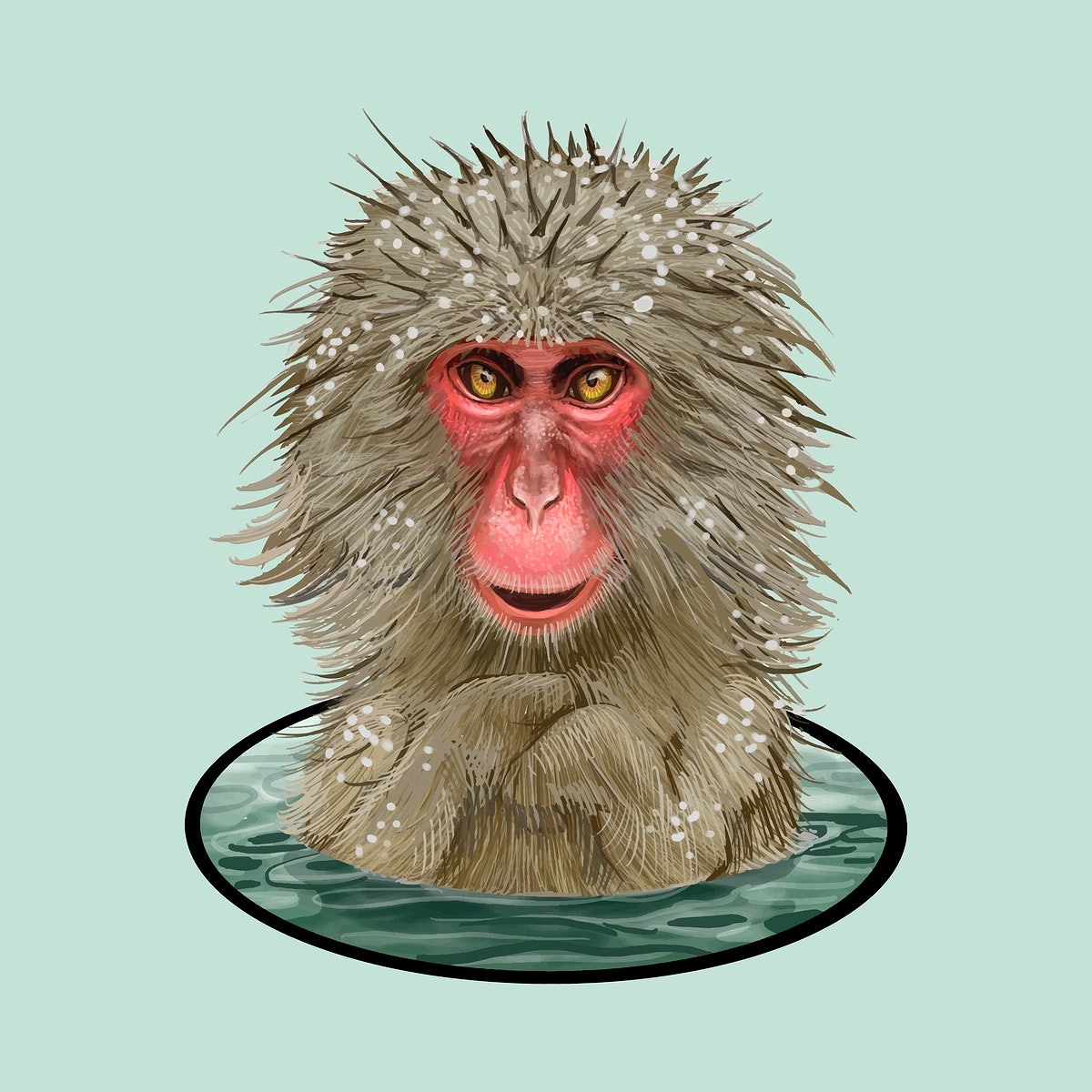 Japanese macaques in an Onsen illustration