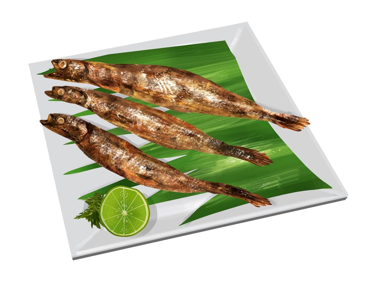 Charcoal-grilled Japanese Shishamo fish