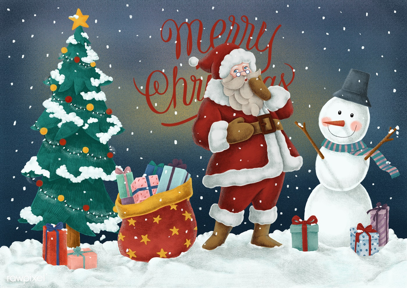 merry christmas card with gift boxs and snow vector. delighted merry ...