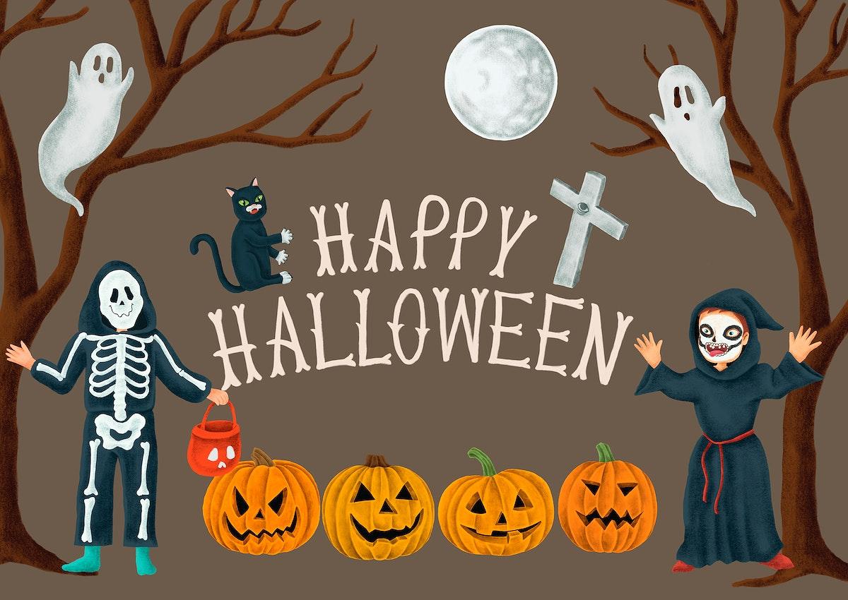 Hand drawn Happy Halloween card