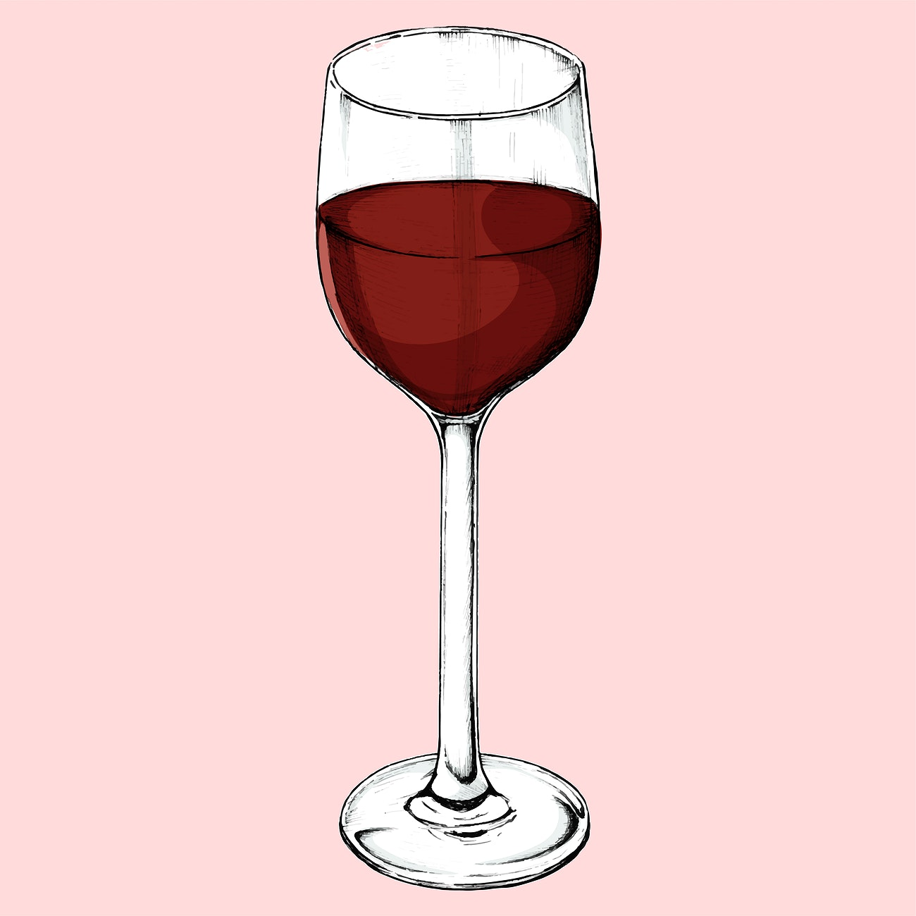 Hand Drawn Red Wine Glass Royalty Free Vector 407047