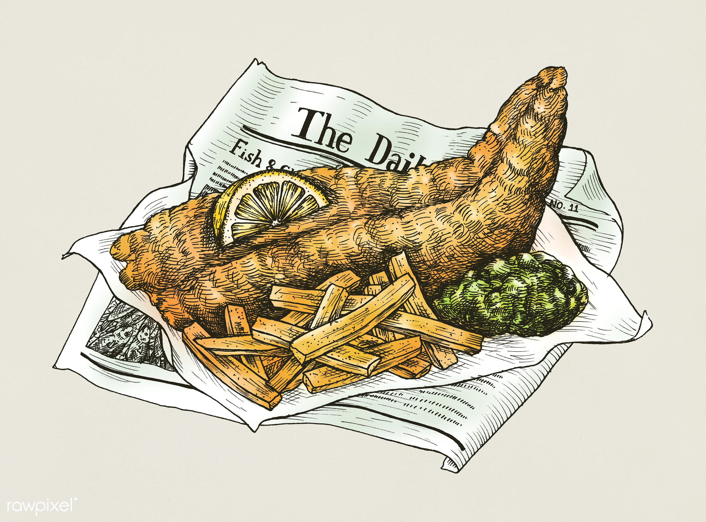Hand drawn fish and chips - drawing, food, appetite, charcoal, chips, cook, cuisine, cutlet, delicious, dinner, dish, eat,...