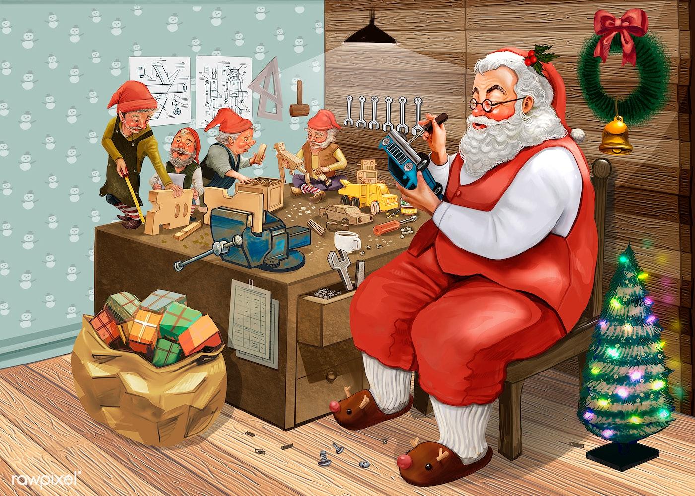 Hand drawn Santa Claus making Christmas presents with his ...