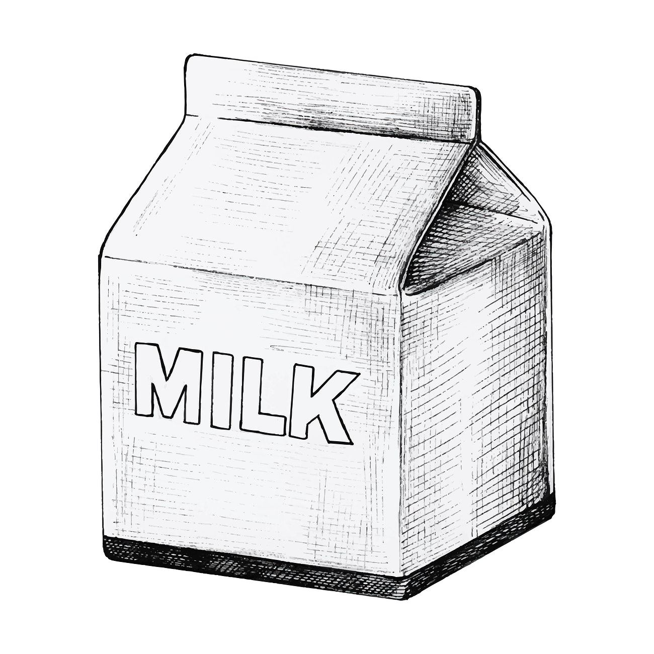Milk carton ink drawing | Royalty free vector - 1200269