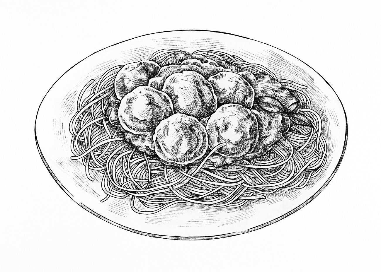 Spaghetti meatballs ink drawing | Royalty free ...