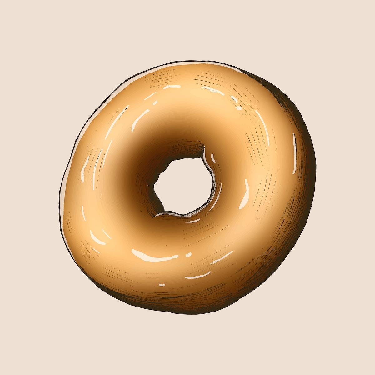 Freshly baked vintage donut vector