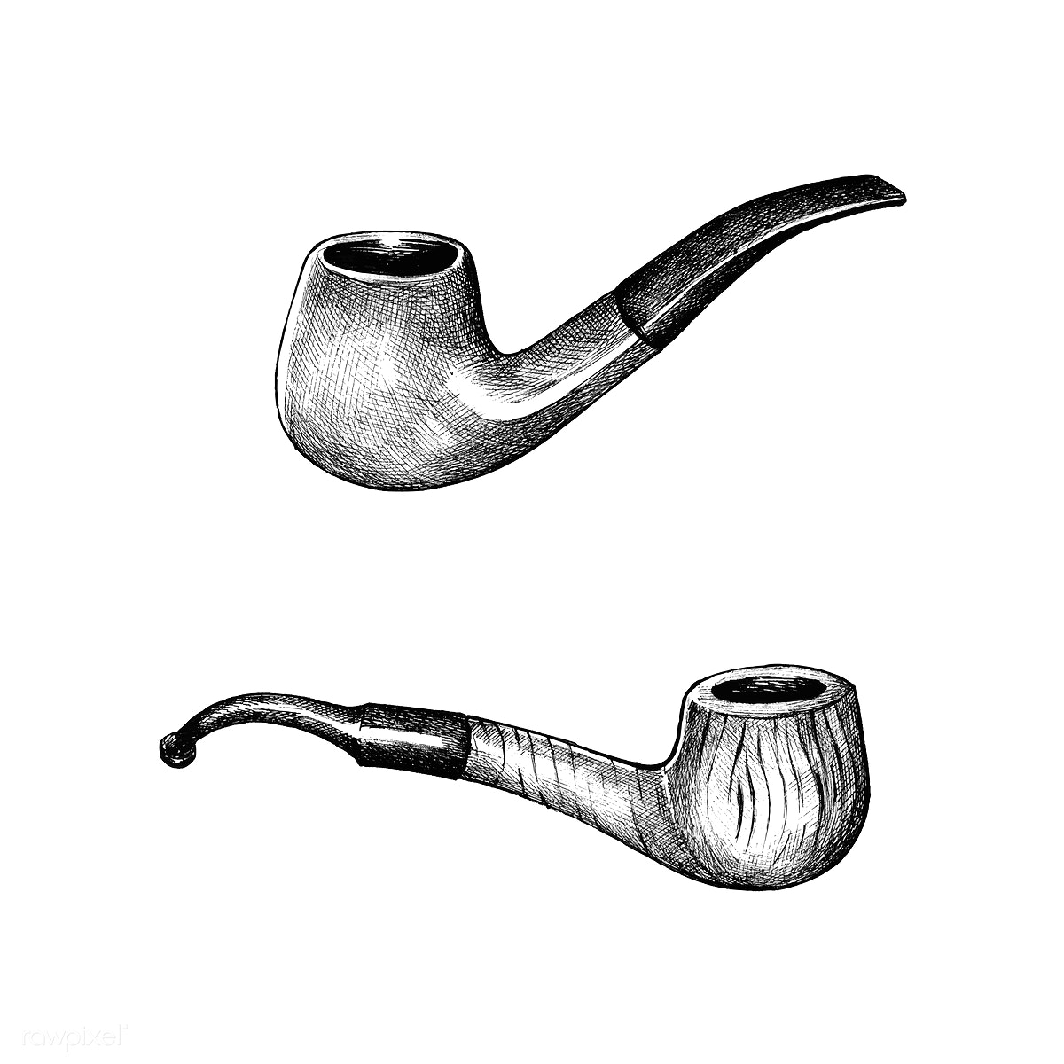 Download premium illustration of Hand drawn wooden tobacco pipe 410923