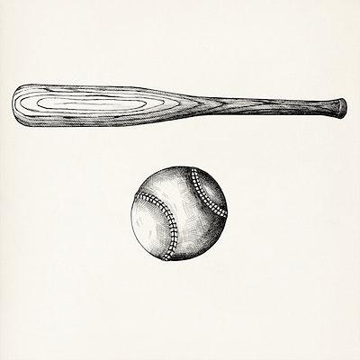 7b1e721ea91 Hand drawn baseball bat and ball isolated on background