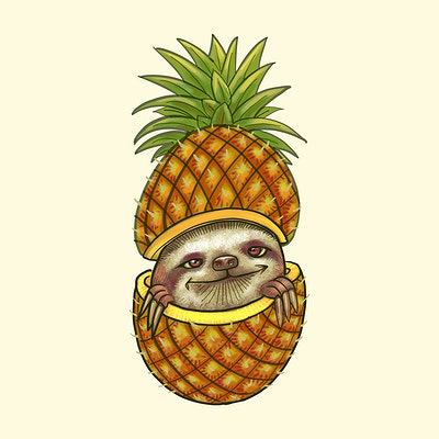 484b38b2071f Hand drawn pineapple isolated on yellow background
