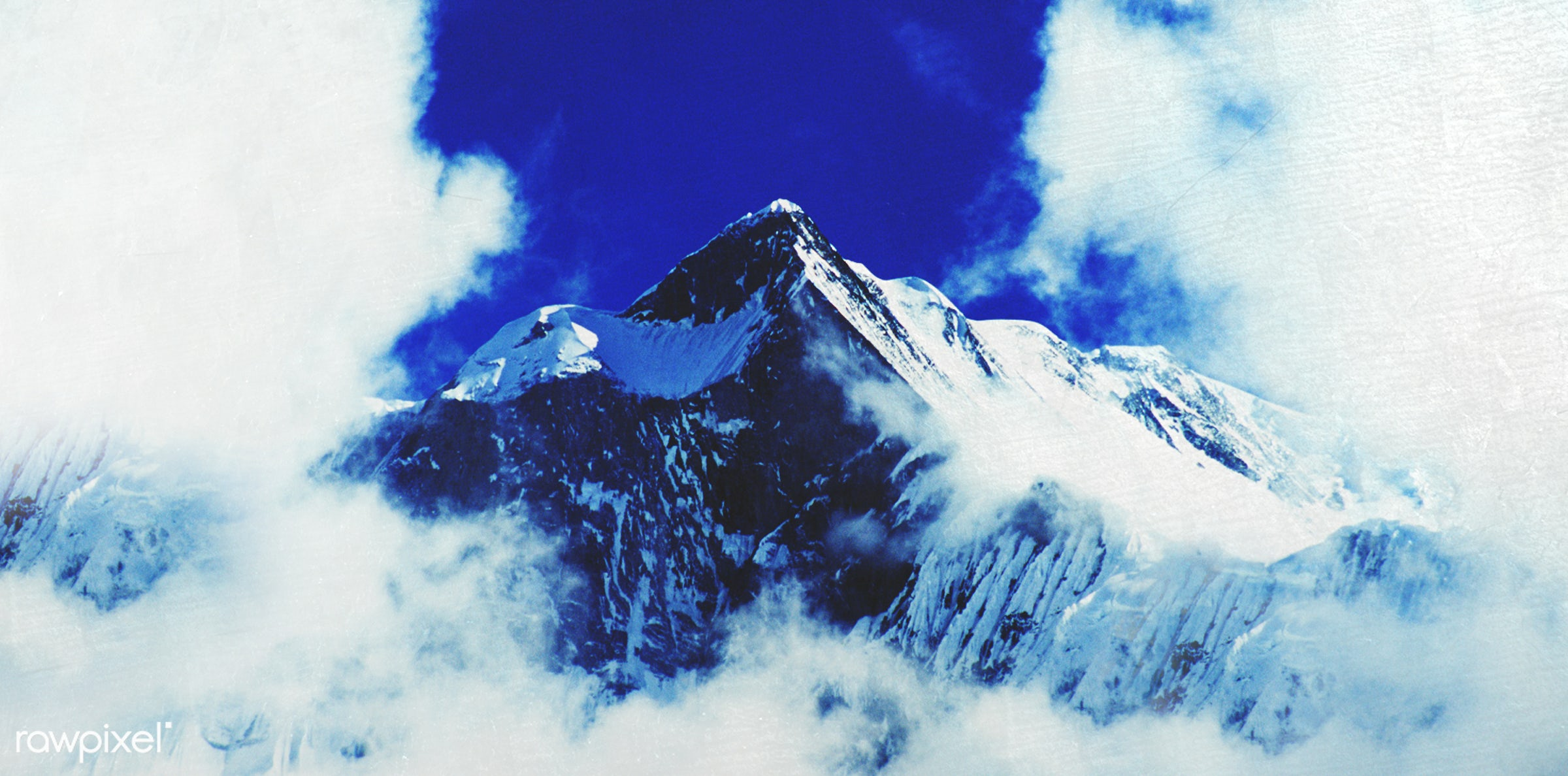 Above the clouds of a mountain peak in the Himalayas. - fog, above, adventure, aspirations, awe, blue, bright, cloud,...