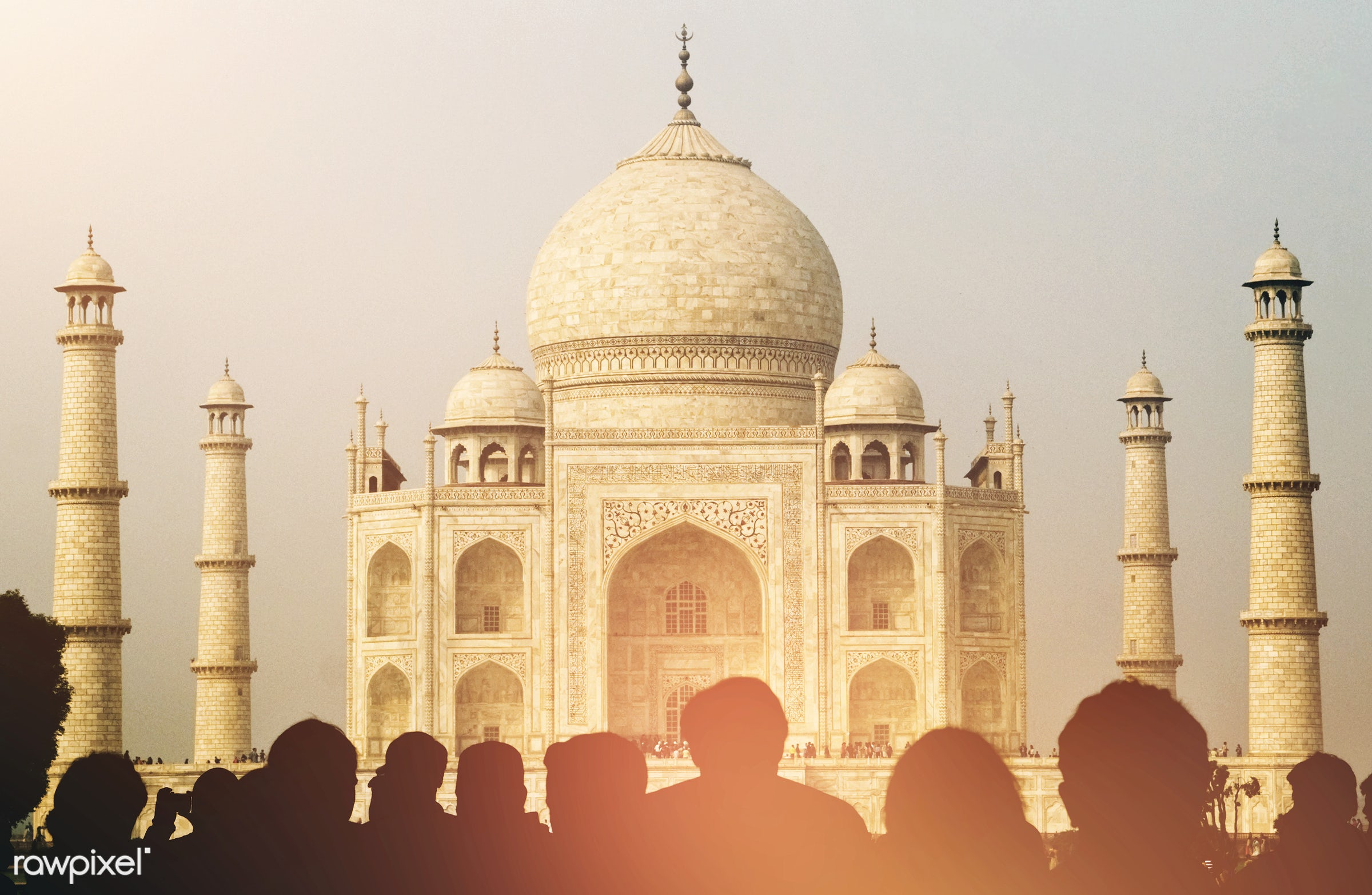View of Taj Mahal with tourist silhouettes - 7 wonders, architectural styles, architecture, architecture and buildings, asia...