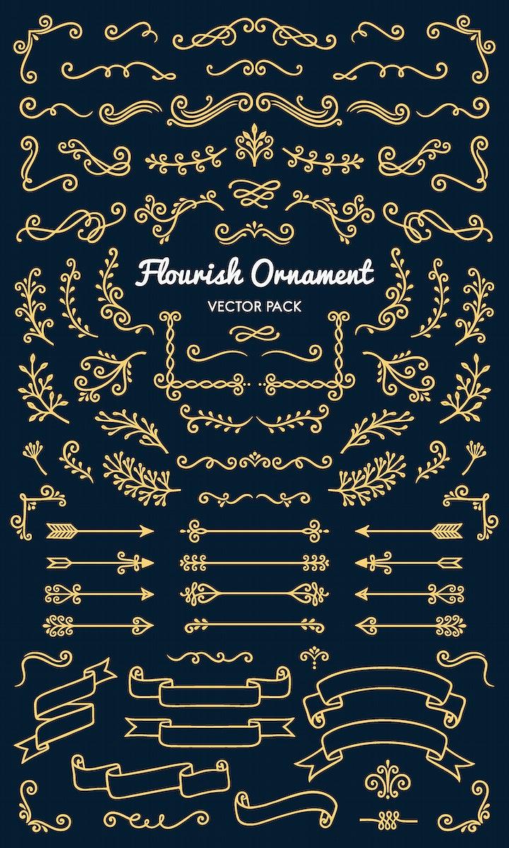 Collection set of flourish ornament label vector illustration