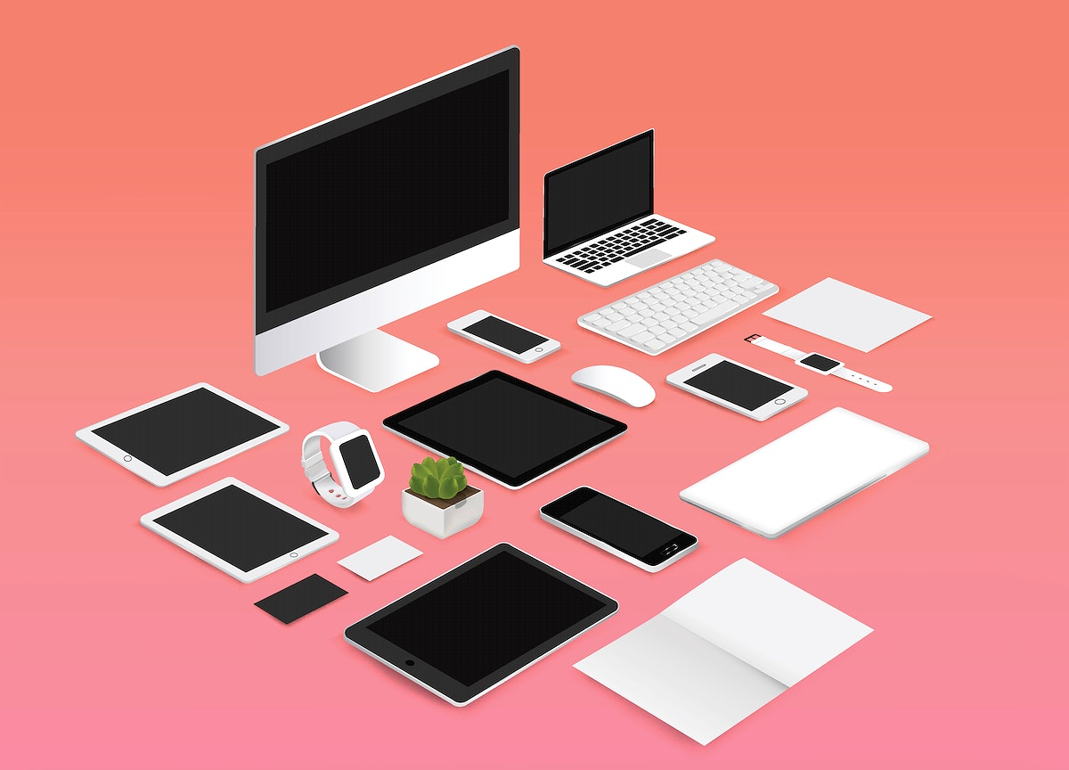 Office mockup set collection vector illustration on red background