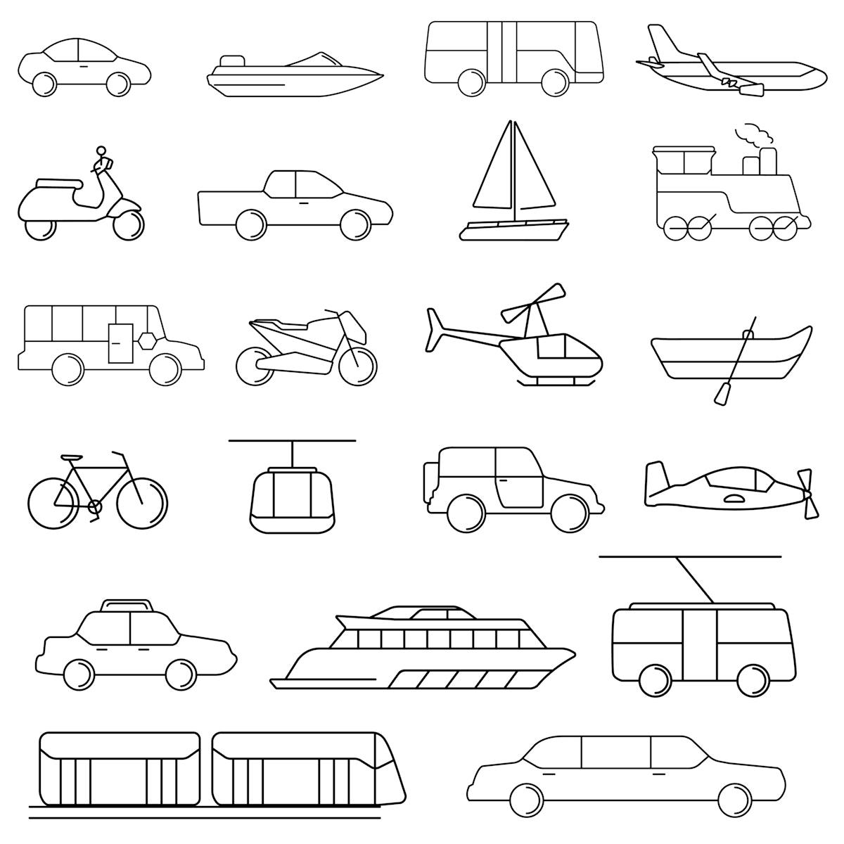 Vector of various transportation vehicles