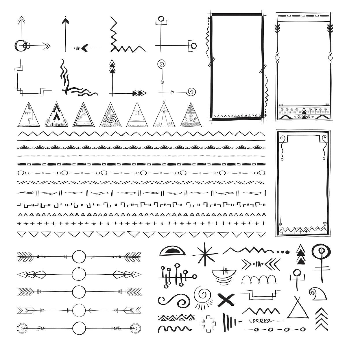 Boho style doodle vector