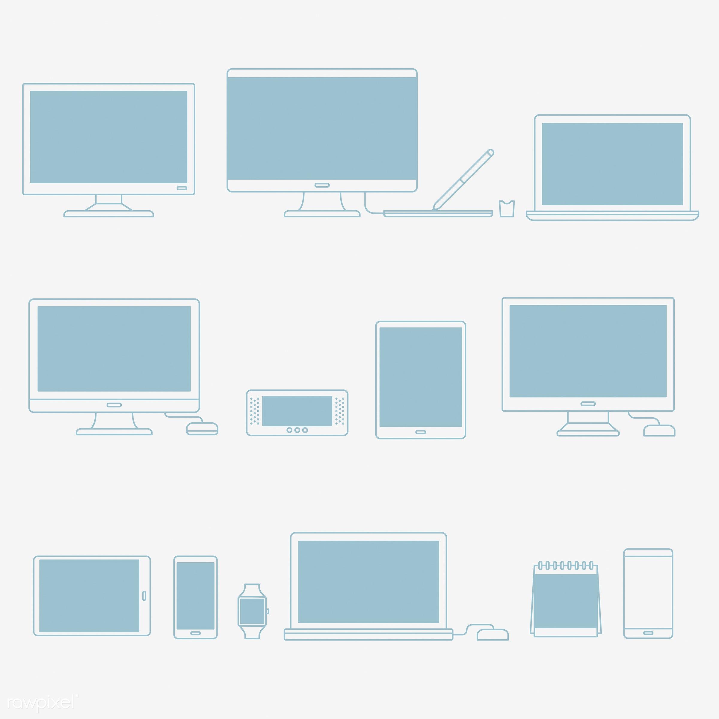 Vector set of digital devices - computer, design, digital, equipment, gadgets, graphic, icon, illustration, laptop, mobile,...