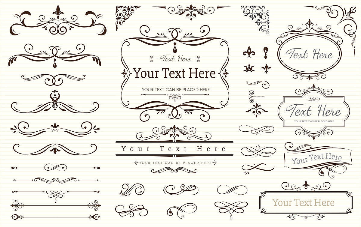 Collection set of label ornament vector illustration