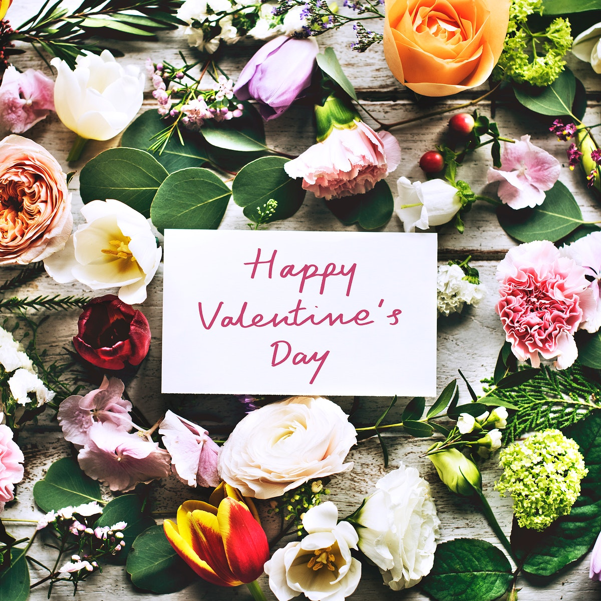 Happy Valentine's day card and flowers