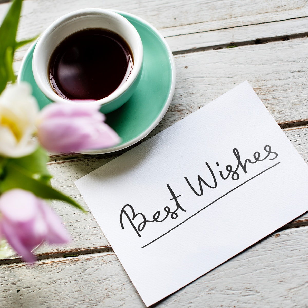 Best Wishes card and a cup of coffee