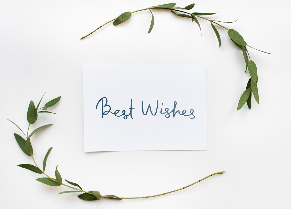 Best Wishes card in a green plant decoration