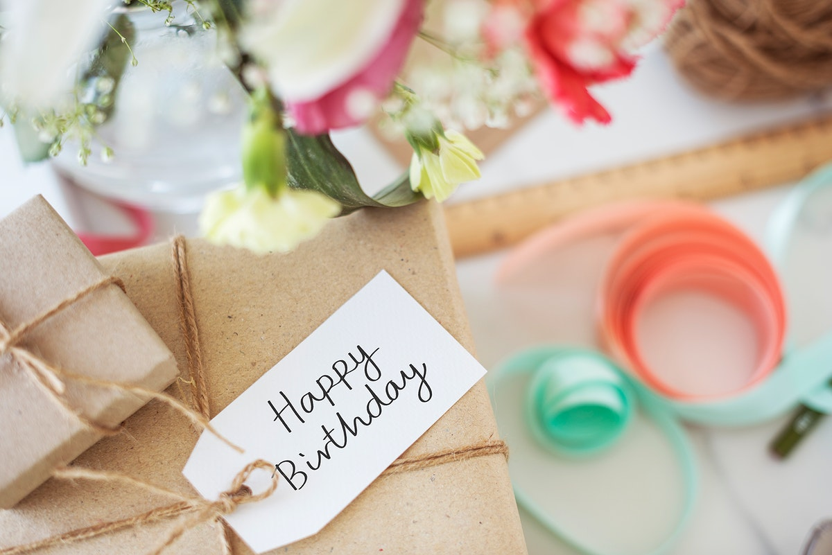 Happy Birthday tag on a gift box