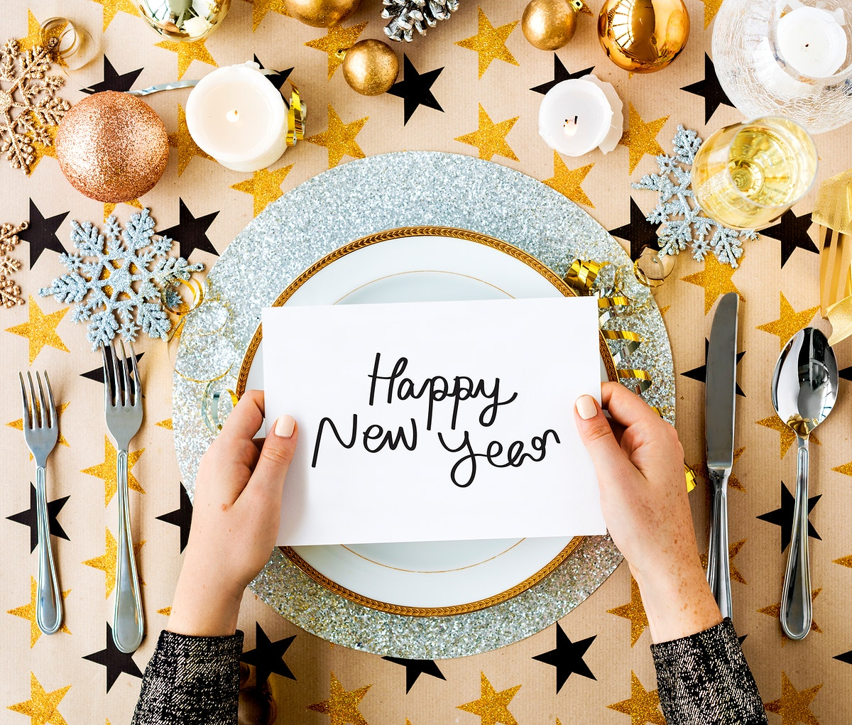 Happy New Year card and festive table settings