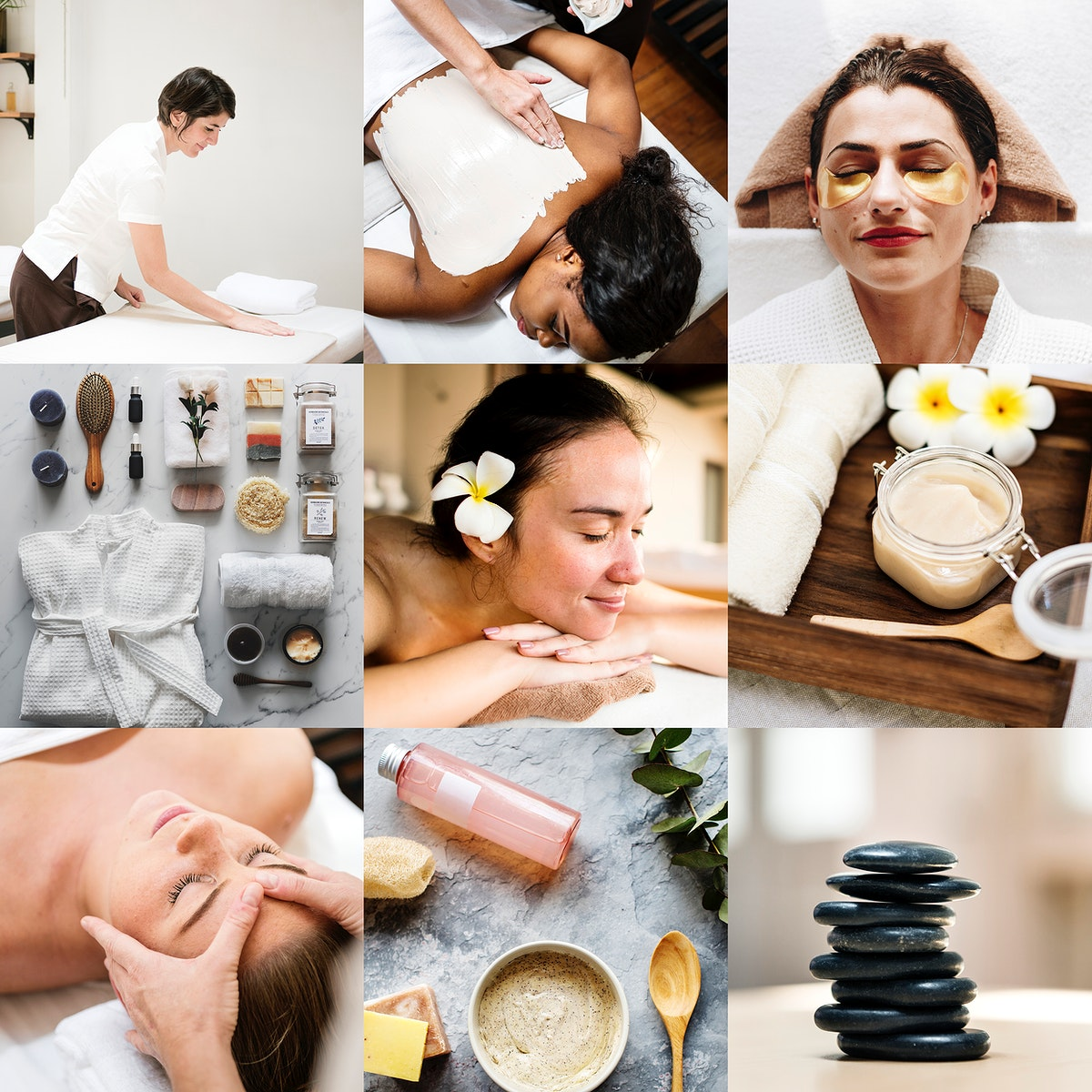 Collage of beauty and spa treatment