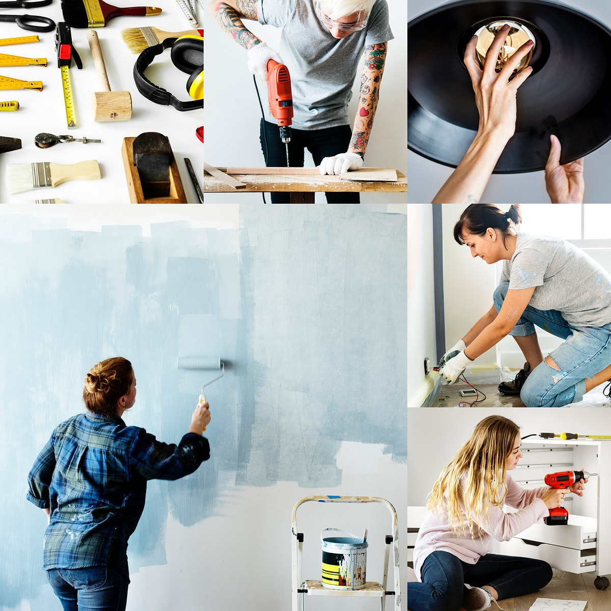Diverse people fixing their home images