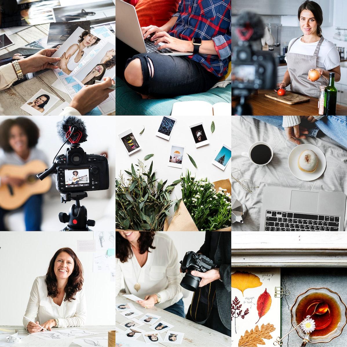 Online blogger recording an ideas