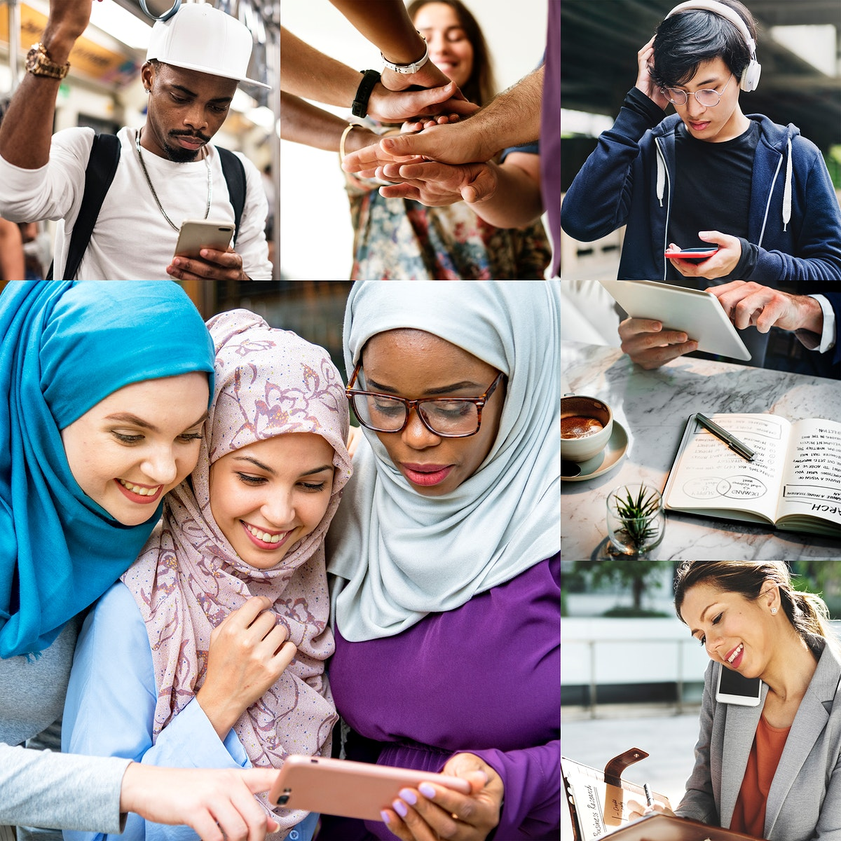 Diverse people network through technology images