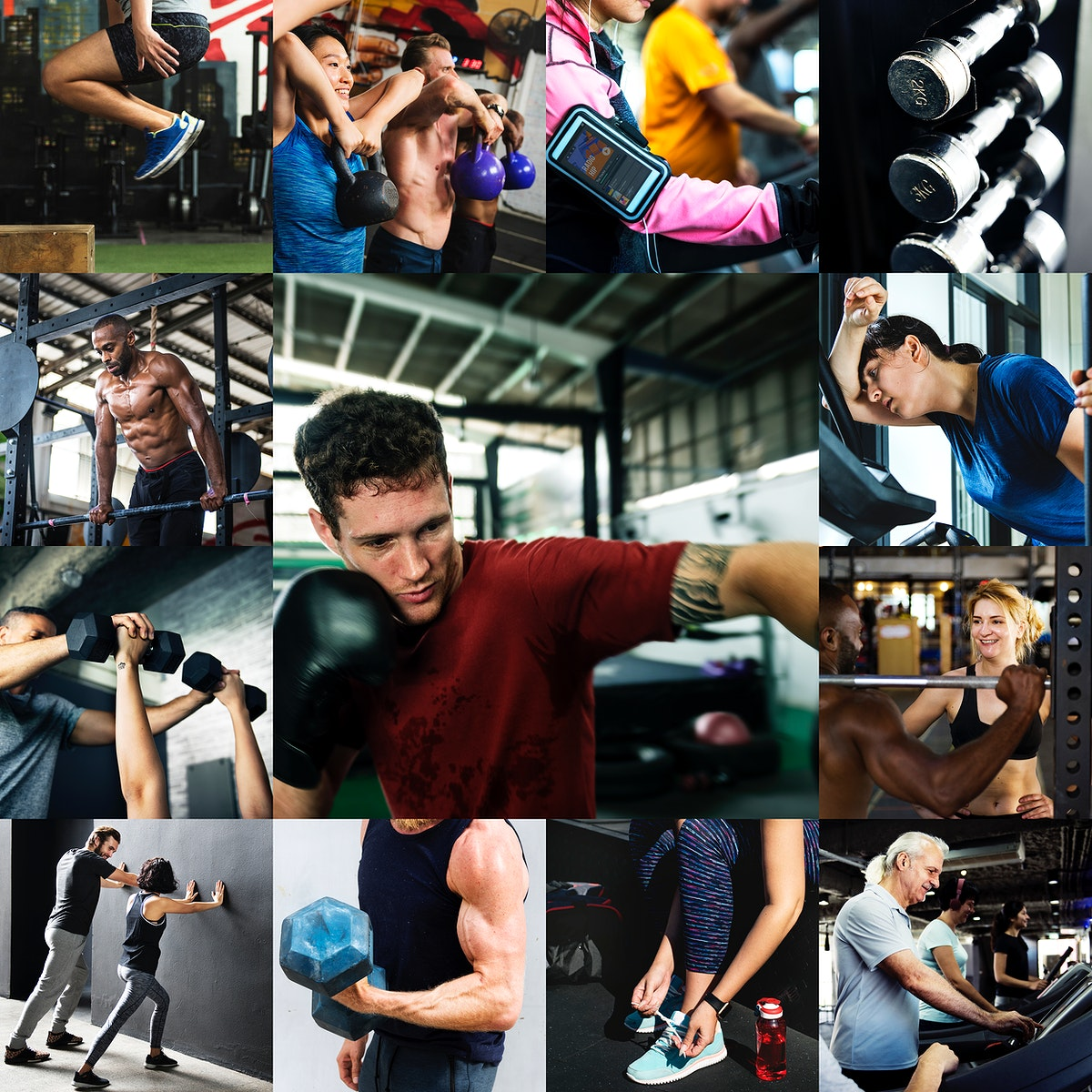 Diverse people in fitness gym images compilation