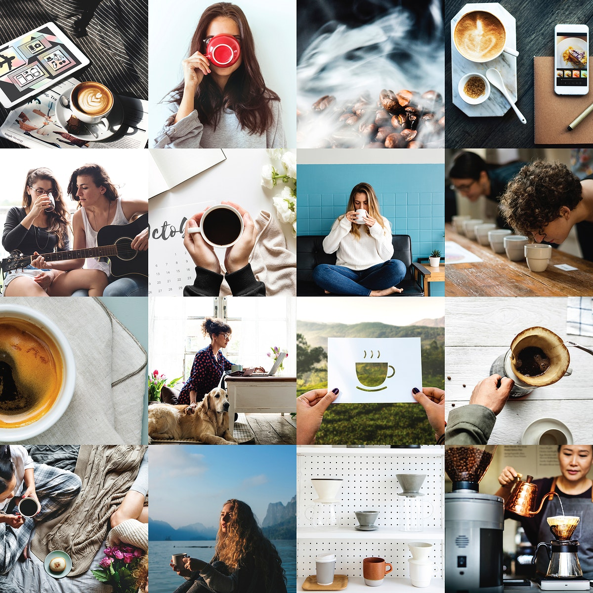 Compilation of coffee themed images