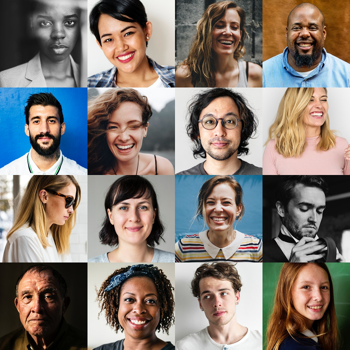 Multi ethnicities of various people face portraits