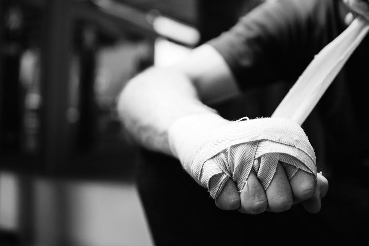 Muay Thai boxer getting ready